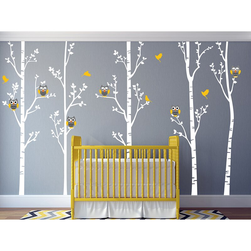 Tree Forest And Owls Baby Nursery Wall Decal