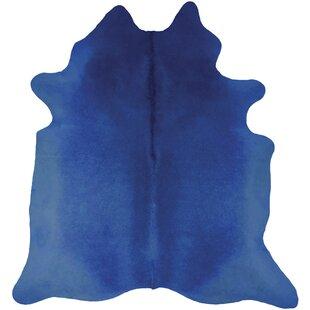 Cowhide Cobalt Blue Rug by Woooly®
