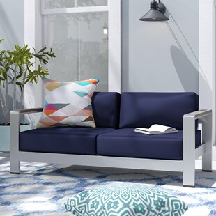 Coline Outdoor Patio Aluminum Loveseat with Cushions
