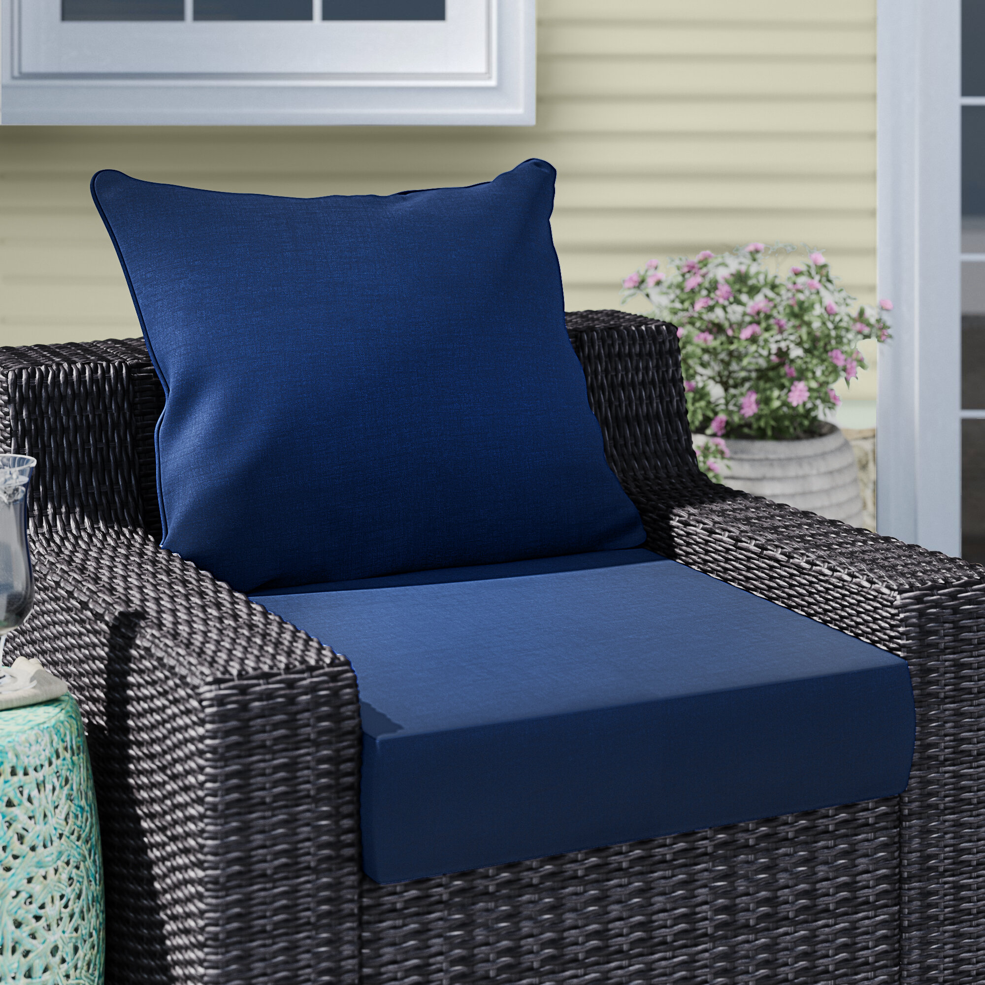 Picture of: Longshore Tides Leala Texture Outdoor Seat Back Cushion Reviews Wayfair