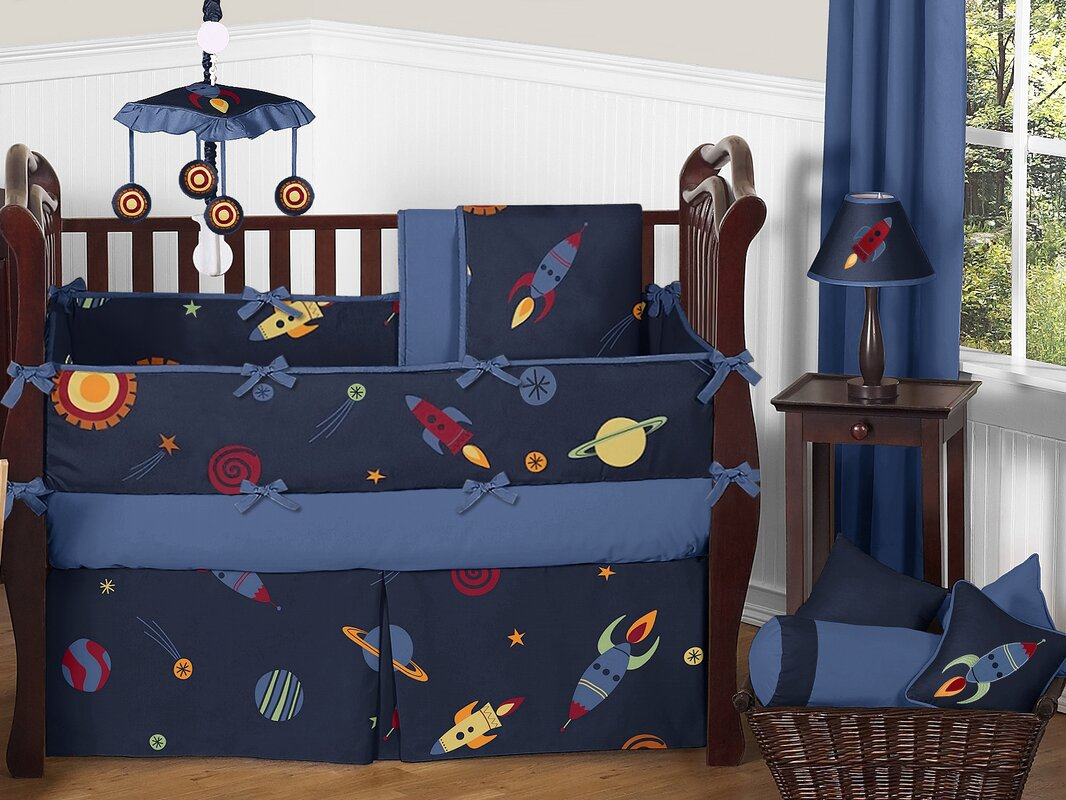 sweet jojo designs space galaxy 9 piece crib bedding set | wayfair