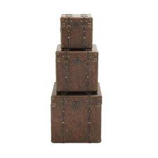 3 Piece Wood Leather Case Set by Woodland Imports