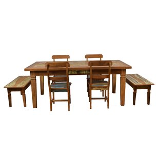 Goulart 7 Piece Solid Wood Dining Set Bloomsbury Market
