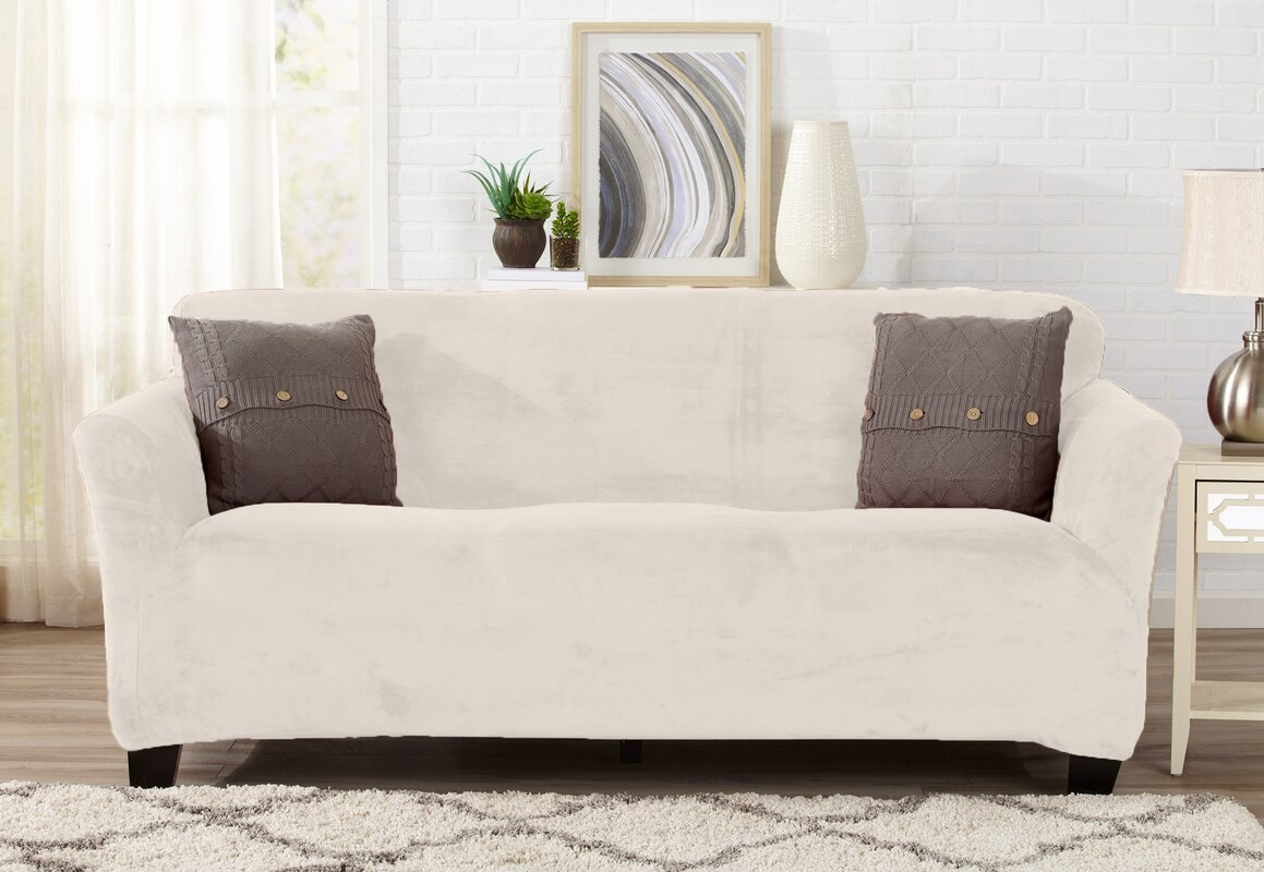 Velvet Plush Form Fit T-Cushion Sofa Slipcover