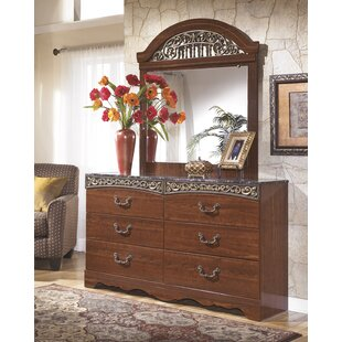 Read Reviews Viburnum 6 Drawer Double Dresser with Mirror by Fleur De Lis Living