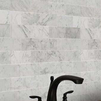 Msi 3 X 6 Polished Marble Subway Tile In Carrara White Reviews Wayfair