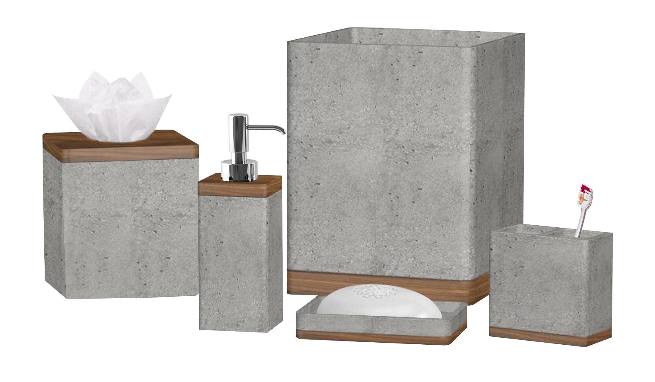 Stonington Concrete Stonewooden Wastebasket