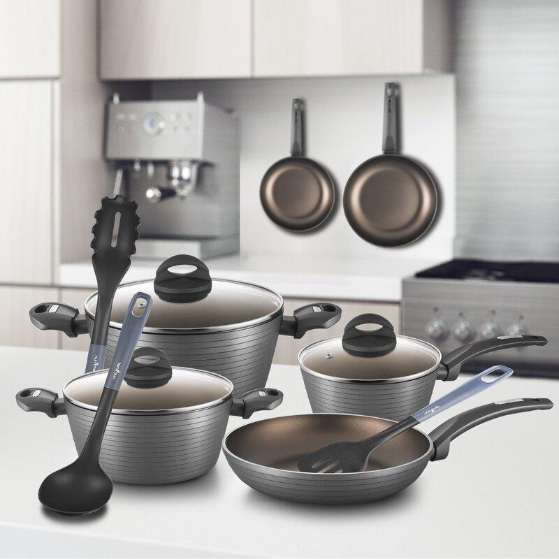 Nutrichef 12 Piece Aluminum Non Stick Kitchen Cookware Set Reviews Wayfair