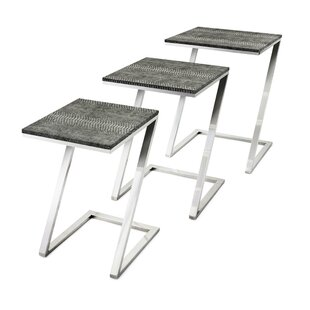 Mercer41 Vermont Leatherette Upholstered 3 Piece Nesting Tables