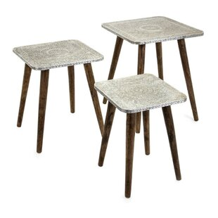 Lindell Metal 3 Piece Nesting Tables by Bungalow Rose