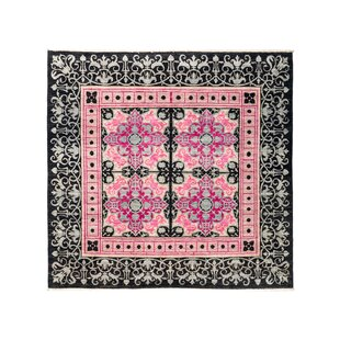 Compare prices One-of-a-Kind Suzani Hand-Knotted Black/Pink/Gray Area Rug ByDarya Rugs