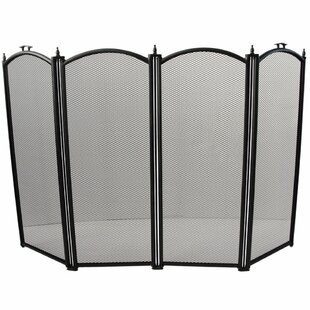 4 Panel Steel Fireplace Screen By Marlow Home Co.