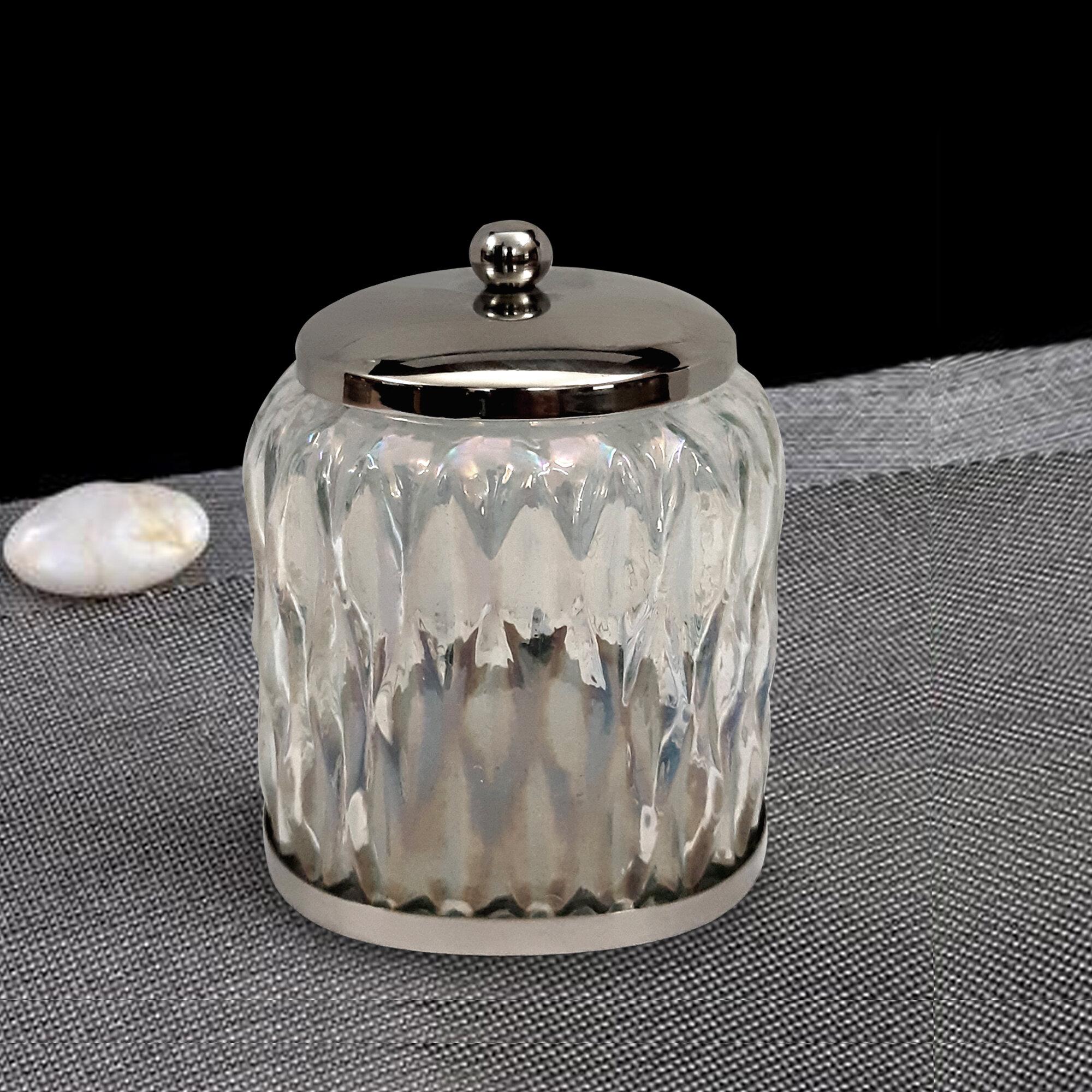 Canora Grey Savoie Rainbow Cotton Swab Bathroom Vanity Glass Storage Jar Reviews Wayfair