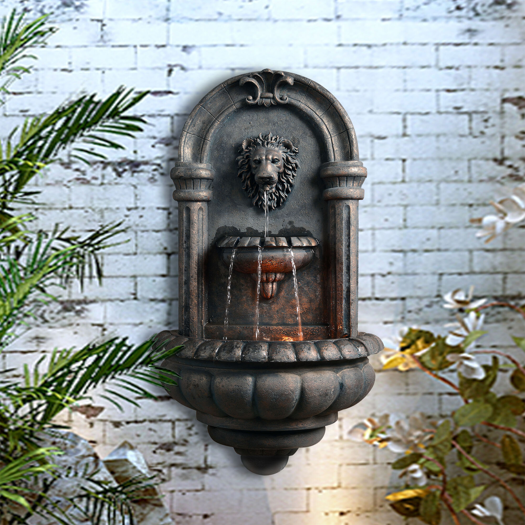 Peaktop Resin Outdoor Royal Lion Head Wallfall Fountain with Light