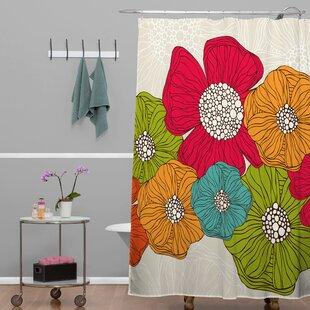 Deepak Flowers Single Shower Curtain by Bungalow Rose Great price