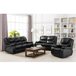Hille Reclining 3 Piece Leather Living Room Set Red Barrel Studio Wonderful  ...