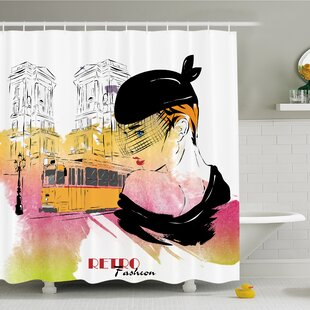 Read Reviews Fashion House Lady Posing in front of Tramway Sketch Retro Romance Aesthetics Shower Curtain Set By Ambesonne