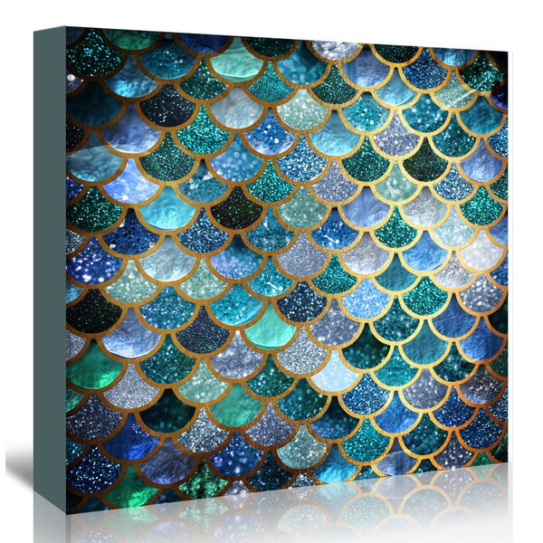 'Mermaid Fish Scales' blue fish scale home decor on Canvas