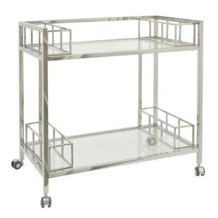 Brayden Studio Rowlett Metal/Glass Bar Cart