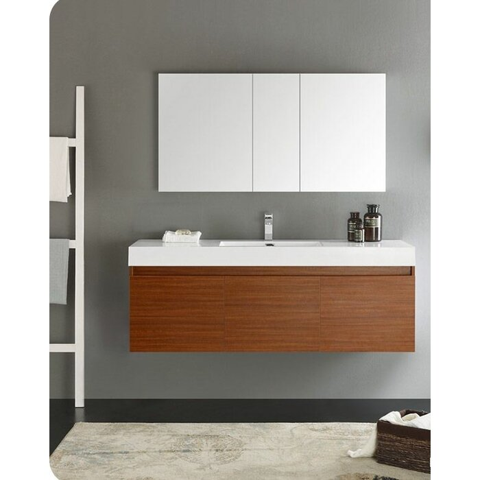 Senza 60 Mezzo Single Wall Mounted Modern Bathroom Vanity Set With Mirror
