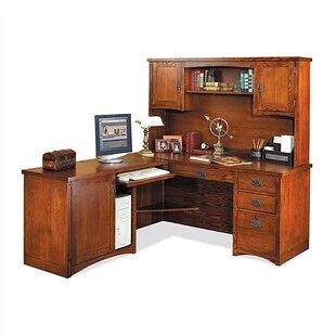 kathy ireland Home by Martin Furniture Mission Pasadena L-Shape Computer Desk with Hutch