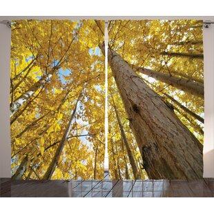 Colan Nature Aspen Tree Room Darkening Rod Pocket Curtain Panels (Set of 2) by Ebern Designs