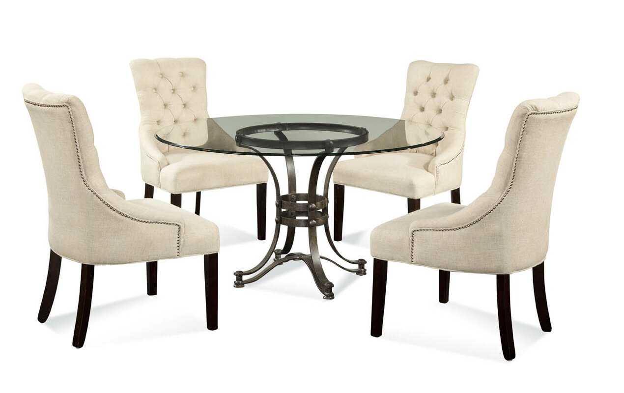 Cooperstown 5 Piece Glass Table Top Dining Set