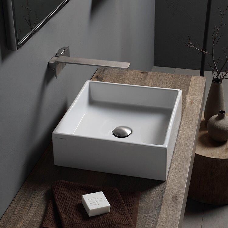 Scarabeo By Nameeks Teorema Ceramic Square Vessel Bathroom Sink With Overflow Wayfair