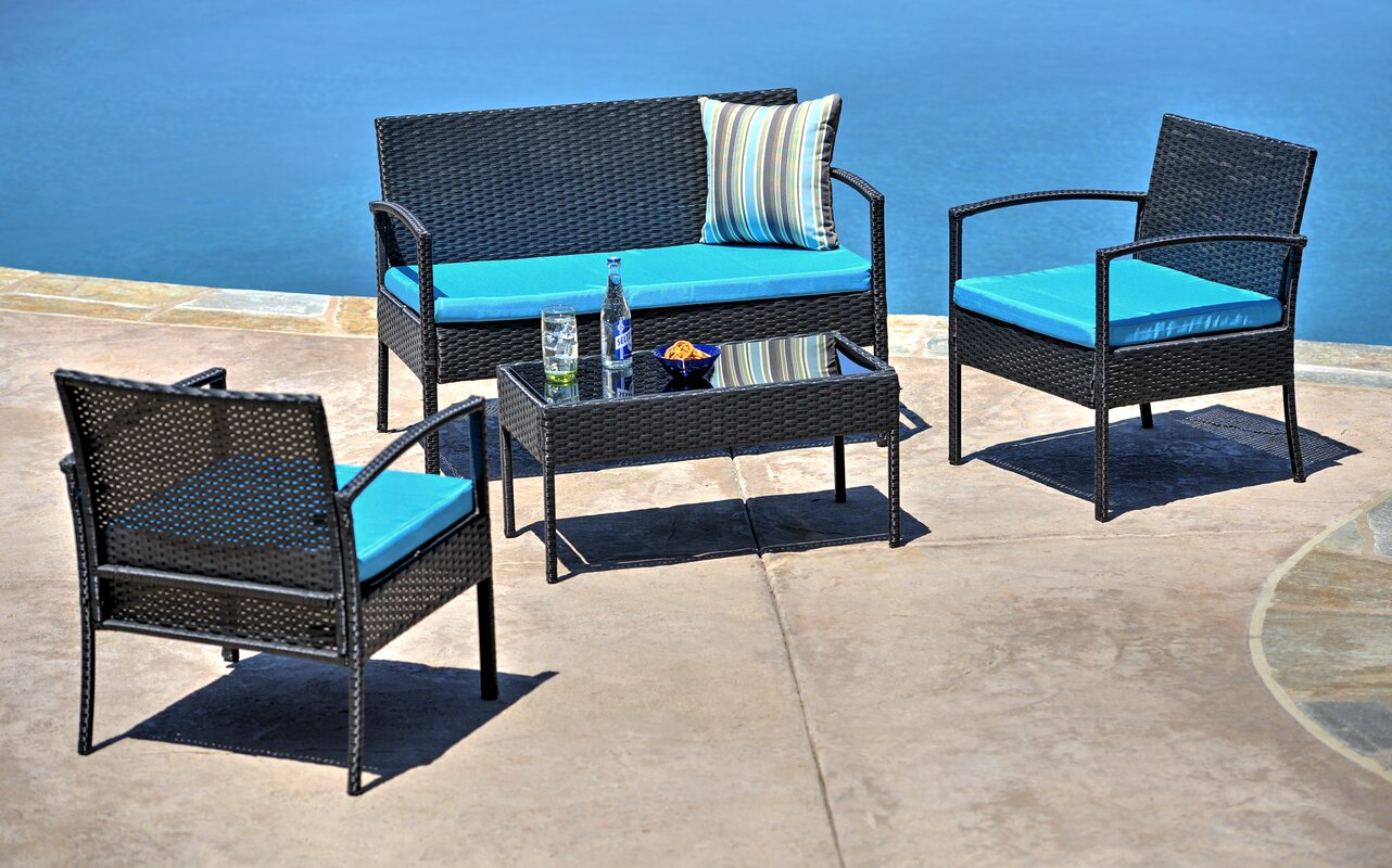 Superb Fayette 4 Piece Wicker Seating Group With Cushion