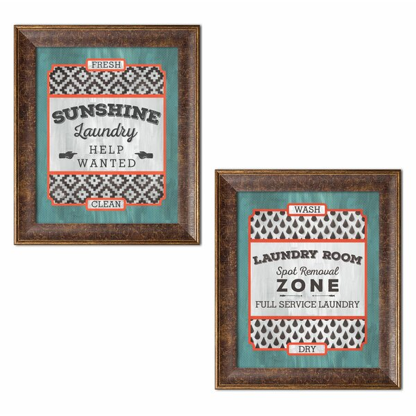 Wrought Studio Fun Modern Laundry Signs Sunshine Help Wanted And Room Full Service Framed Graphic Art Print Set Wayfair