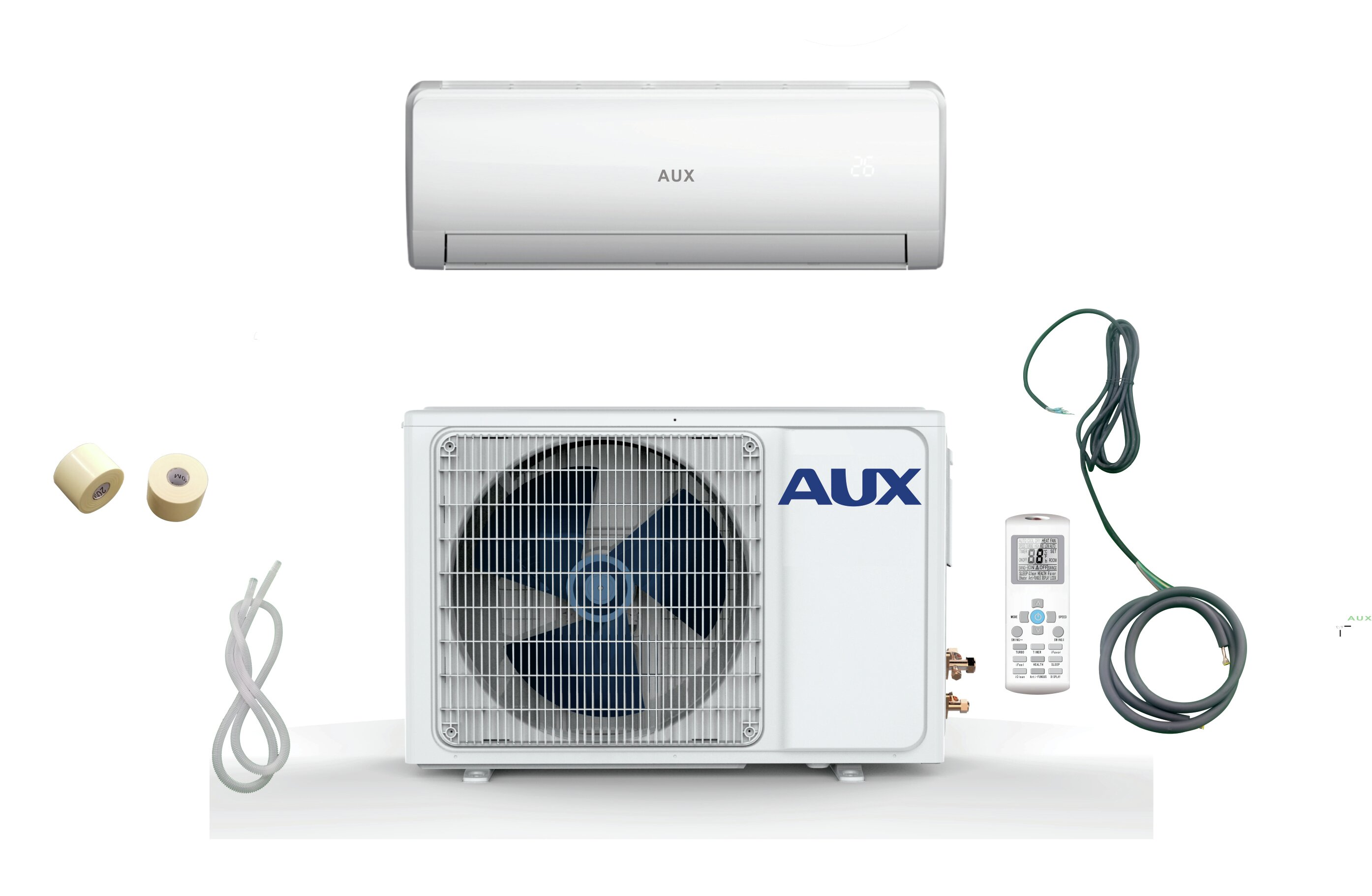 Aux 36 000 Btu Ductless Mini Split Air Conditioner With Heater Remote And Wifi Control Wayfair