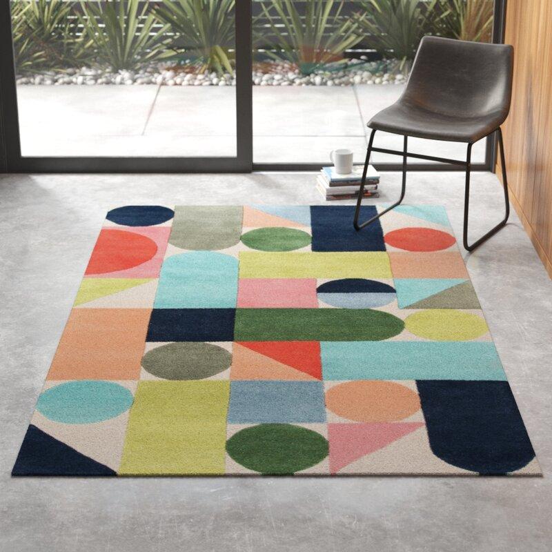 Geometric Handmade Tufted Wool Blue Green Orange Area Rug Reviews Allmodern
