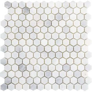 Winter Hex Mix 1 inch  x 1 inch  Marble Mosaic Tile in Frost