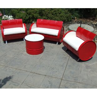 Drum Works Furniture 4 Piece Sofa Set with Cushions