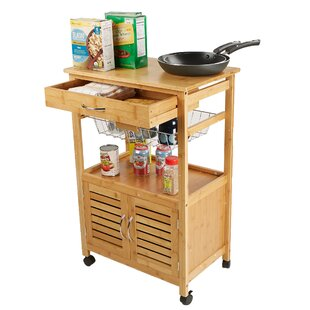 3 Tier Space-Saving Trolley Utility Organizer Rack Bamboo Kitchen Cart