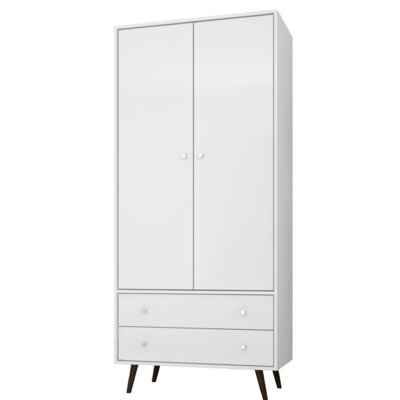 George Oliver Jabari Mid Century Modern Armoire Color: White