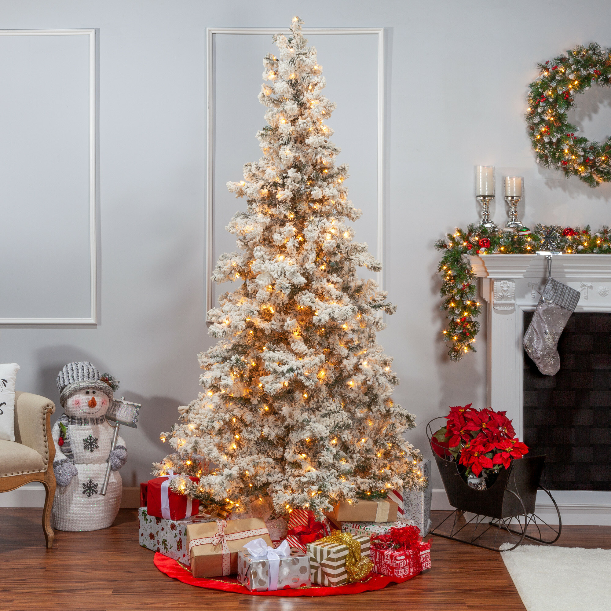 Artificial Christmas Tree With Lights.Heavy Flocked Layered 7 5 White Spruce Artificial Christmas Tree With 550 Clear Lights With Stand