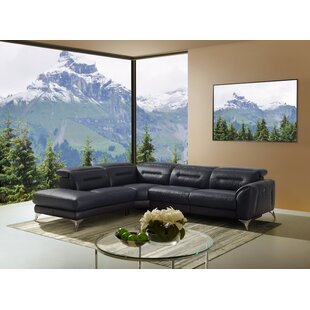 Look for Sharp Leather Reclining Sectional by Orren Ellis Reviews (2019) & Buyer's Guide