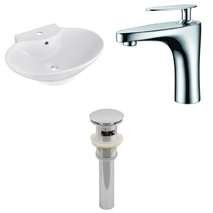 Compare & Buy Ceramic 23 Wall-Mount Bathroom Sink with Faucet and Overflow By Royal Purple Bath Kitchen