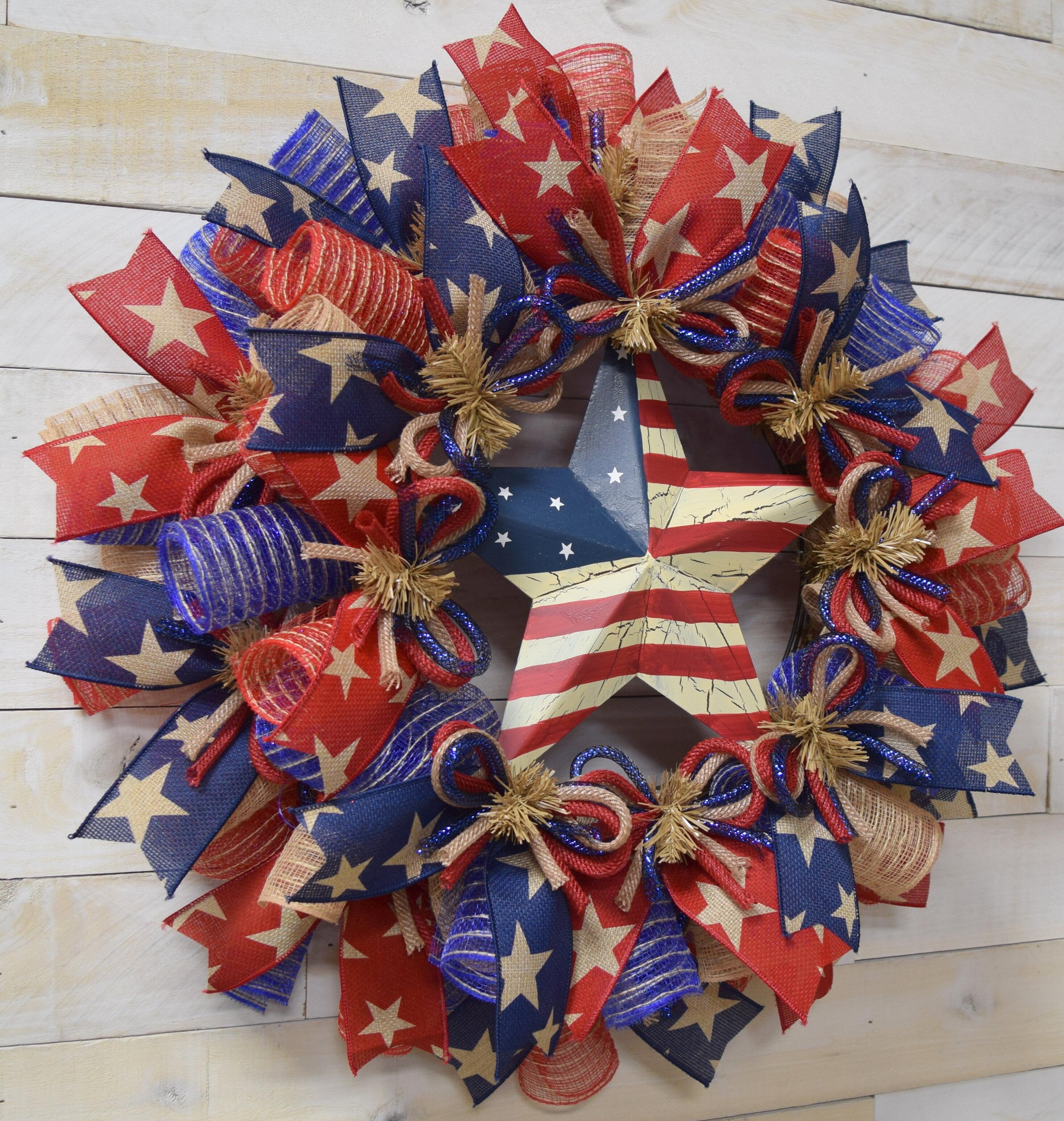 USA Wreath Memorial Day Wreath Fourth of July Wreath Summer Wreath Patriotic Deco Mesh Wreath