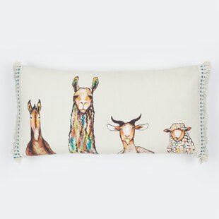 Torry Donkey Llama Goat Sheep by Eli Halpin Cotton Lumbar Pillow