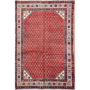 Check Prices One-of-a-Kind Tristen Geometric Classical Vintage Botemir Persian Hand-Knotted 3'2 x 4'10 Wool Red/Beige/Black Area Rug By Isabelline