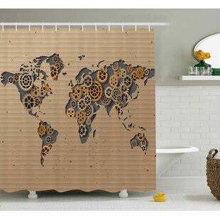 Boumehdi Ancient Old Hipster Contemporary Image of World Map With Clock Wheel Print Single Shower Curtain