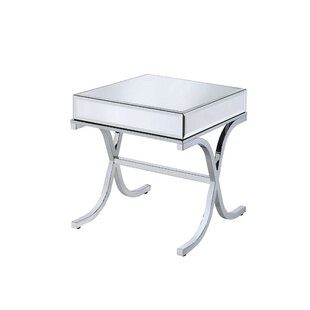 House of Hampton Cheryl Metal and Mirror Square End Table