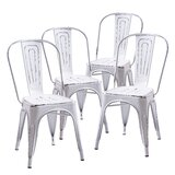 Olevia Metal Slat Back Stacking Side Chair (Set of 4) by 17 Stories