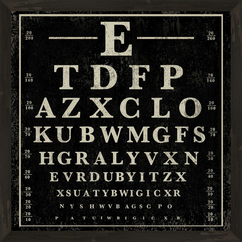 Ptm Eye Chart Picture Frame Textual Art Print On Paper