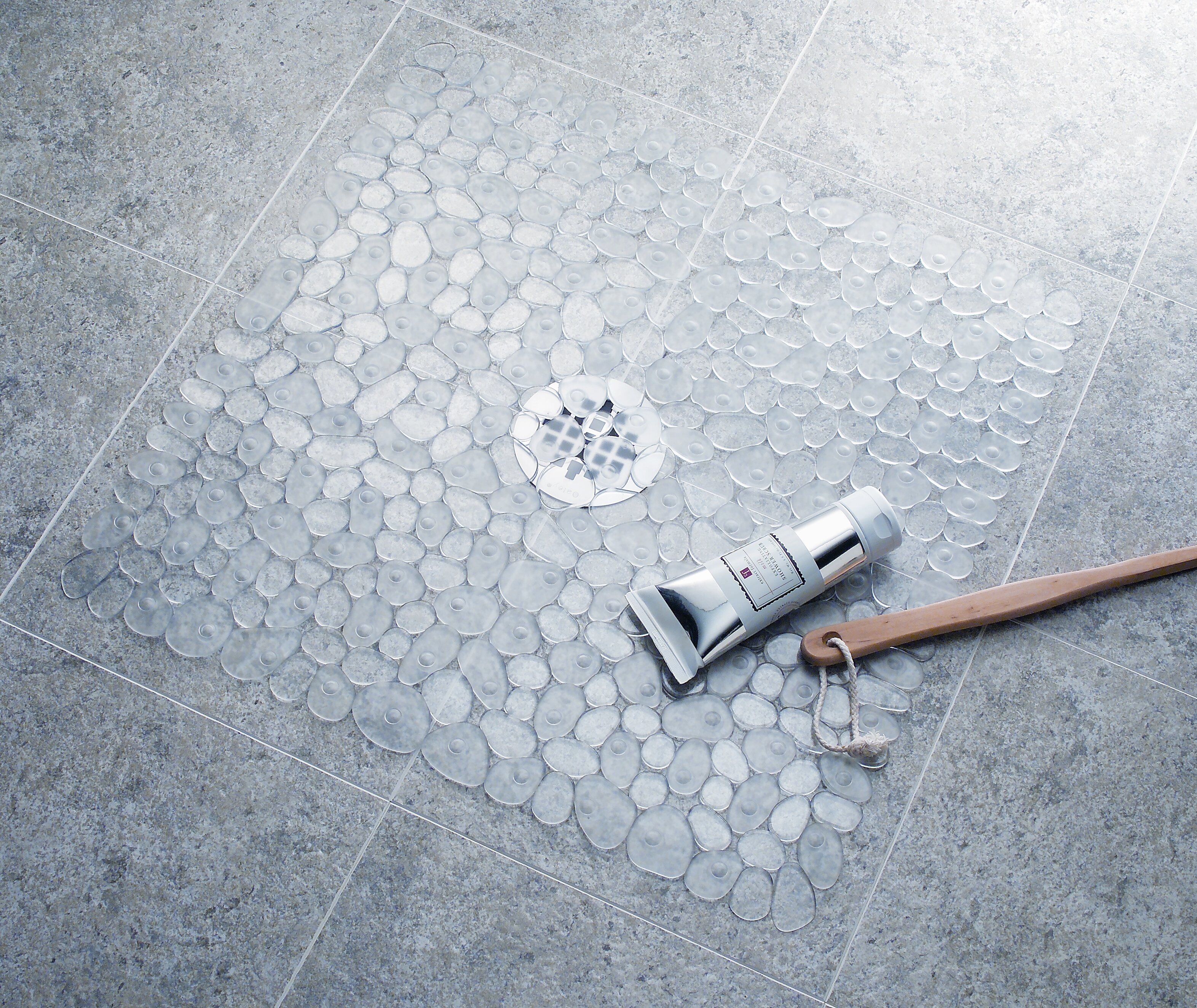 Anti-Slip Textured Surface Pebble Shower Mat-Clear