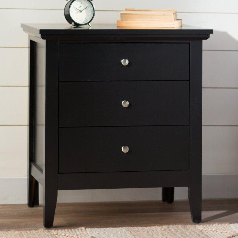lignite 3 drawer nightstand