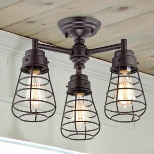 Rountree Cage 3-Light Semi Flush Mount by Williston Forge