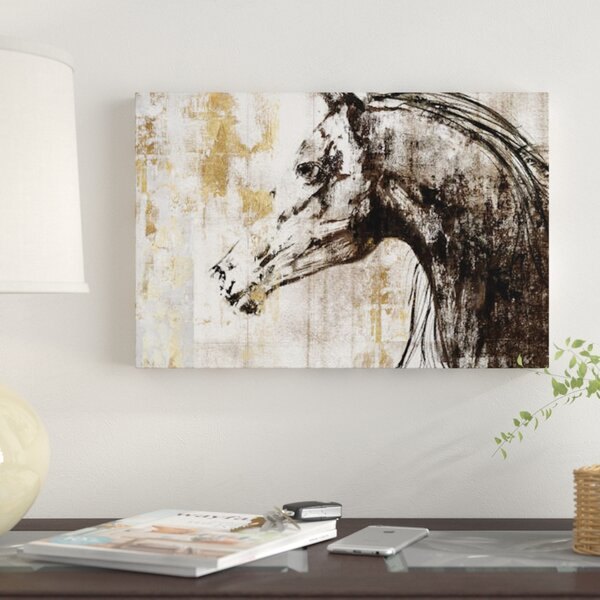 East Urban Home \'Equestrian Gold IV\' Graphic Art Print on Canvas ...